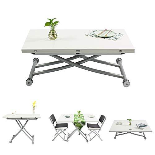 Beliwin - Mesa baja elevable, color blanco regulable en altura para salón y oficina, mesa plegable
