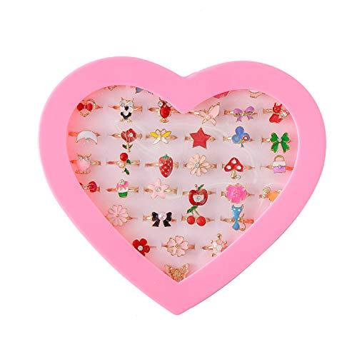 Weimob 36 Stücke Fingerringe Prinzessin Schmuck Verstellbare Ringe für Mädchen Kleine Kinder Schmuck Set in Box EINWEG