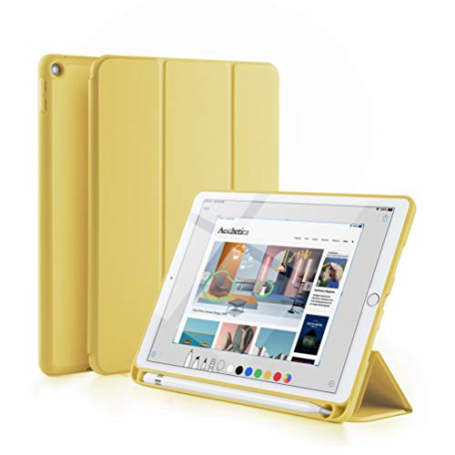GUDOU 2019 New iPad Mini 5th Gen Smart Case with Pencil Holder,Ultrathin Trifold PU Leather+Soft Silicone Stand Cover with Auto Sleep/Wake,Protective for iPad Mini 5 7.9' 2019 Release (Yellow)