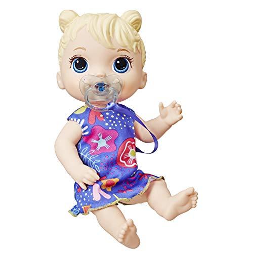 Boneca Baby Alive Bebê Primeiros Sons Loira - 10 efeitos sonoros. Com vestido removível e chupeta - E3690 - Hasbro