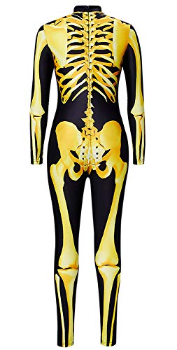 Goodstoworld Disfraz de Halloween Mono de Esqueleto para Mujer Halloween Costume Mono de Manga Larga Traje de Esqueleto de Huesos Carnaval L