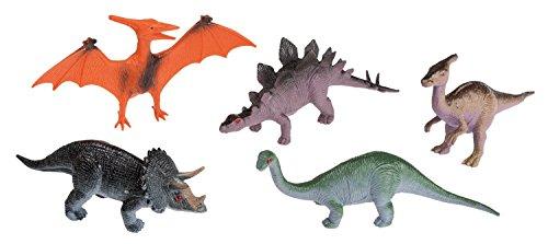 Idena 4325005 - Spielfigurenset mit 5 Dinosauriern, aus Kunststoff, jeweils ca. 10 cm groß, Spielspaß für die Badewanne, den Sandkasten, im Kindergarten und Kinderzimmer