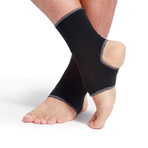Neotech Care Ankle Support Sleeve (1 Pair) - Open Heel, Light, Elastic & Breathable Knitted Fabric - Medium Compression - for Men, Women, Kids - Right or Left Foot - Black Color (Size M)