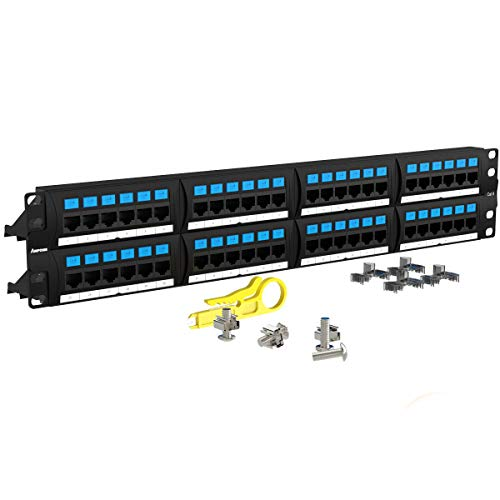 AMPCOM Supreme Series CAT6 48 Ports Patch Panel, Rack Mount - 2U, 19 inch, RJ45 Ethernet 568A 568B, 50u Gold Plated, with Rear Cable Management Bar