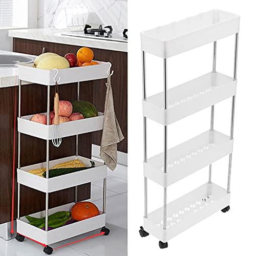 Estantes organizadores de almacenamiento, estante de almacenamiento de 4 niveles, resistente carga 33,9 x 15,7 x 5,1 pulgadas, multiusos con rueda para cocina, baño, dormitorio, oficina