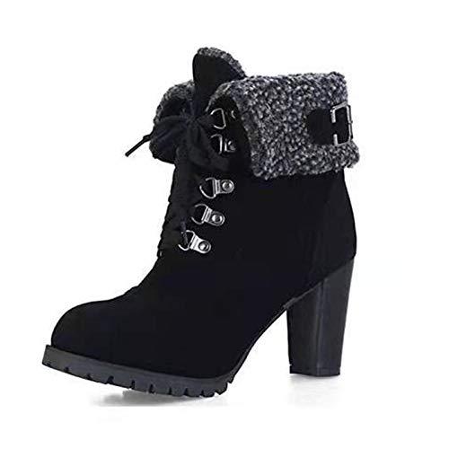 ZLFCRYP Damen Stiefeletten, Leicht Gefüttert Mit Blockabsatz, PU Leder Klassische Stiefel black-35