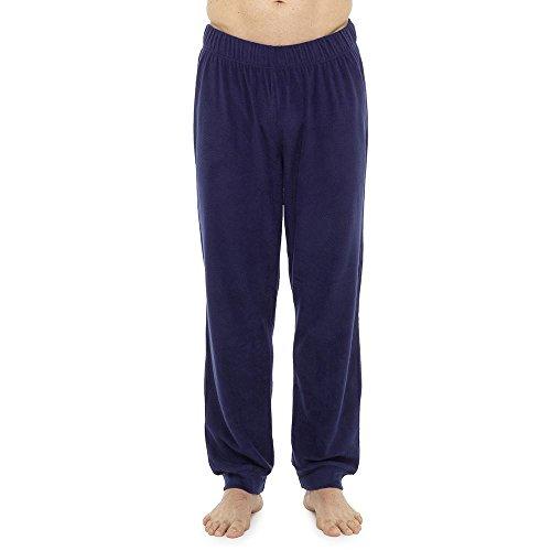 Style It Up Herren-Schlafanzughose, Schottenkaro, einfarbig, weich, warm, Fleece Gr. M, Marineblau