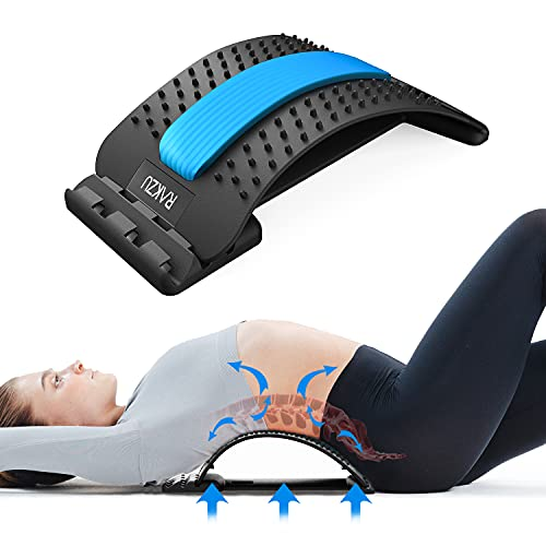 Back Stretcher, RAKZU Multi-Level Back Stretching Device and Memory Foam Lumbar Support Pillow Back...