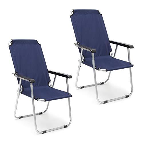 Relaxdays Campingstuhl 2er Set, Faltbare Balkonstühle mit Armlehnen, Garten Hochlehner, 91 x 53,5 x 75 cm, dunkelblau