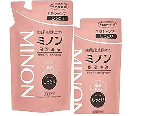 【医薬部外品】 MINON(ミノン) 全身シャンプー しっとりタイプ 詰替用 380mL 2個セット