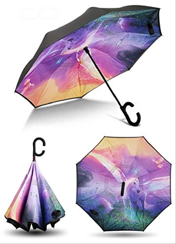 ZJJJD Paraguas Anti-Ultravioleta Paraguas Invertido Anti-Viento Plegable Paraguas Doble De Pie En...