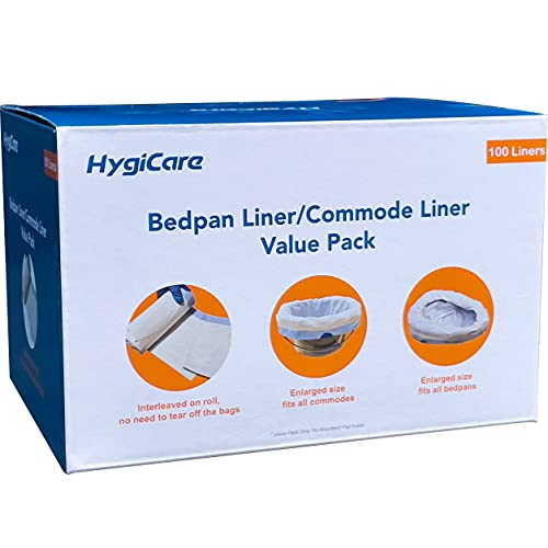 HygiCare Enlarged Size Bedpan Liners Commode Liners 100 Count Medical Grade Leakproof Best for All Size Bedpans and Commode Buckets Interleaved Bags on Roll No Need to Tear off Bags Tie Easy