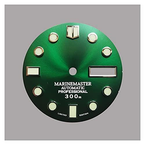 LYB Dial Azul De Sunburst para NH35 SKX007 7S26 6R 4R 28. 5mm Seikowatch Mod (Color : Green Day Date, Size : Silver C3 lume)