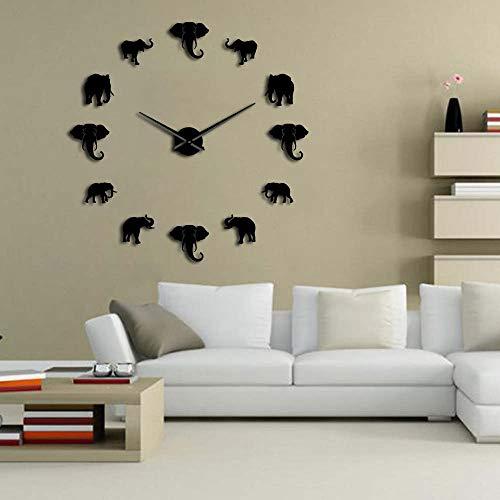 Jungle Animals Elephant DIY Reloj de Pared Grande Decoración para el hogar Diseño Moderno Efecto de Espejo Elefantes Gigantes sin Marco Reloj de Bricolaje Reloj de Pulsera Perfecto Regalo para músi