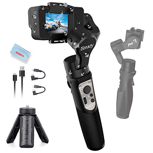 3-Axis Action Camera Gimbal Stabilizer for GoPro Hero 8/7/6/5/4/3, OSMO Action, Sony RX0, YI, SJCAM, Insta360 ONE R, WiFi Connection, Splash-Proof, 12H Battery Life, with Tripod, Hohem iSteady Pro 3