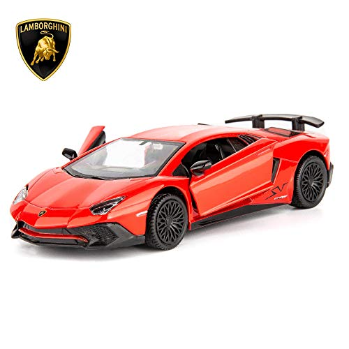 TGRCM-CZ 1/36 Scale Aventador LP700-4 Casting Car Model, Zinc Alloy Toy Car for Kids, Pull Back Vehicles Toy Car for Toddlers Kids Boys Girls Gift (Red)