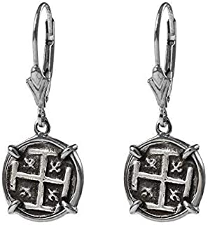Genuine 100% Atocha Silver Historical Spanish Replica Coin Earrings - Available in 14kt Gold or 925 Sterling Silver Frame - Includes Certificate of Authenticity