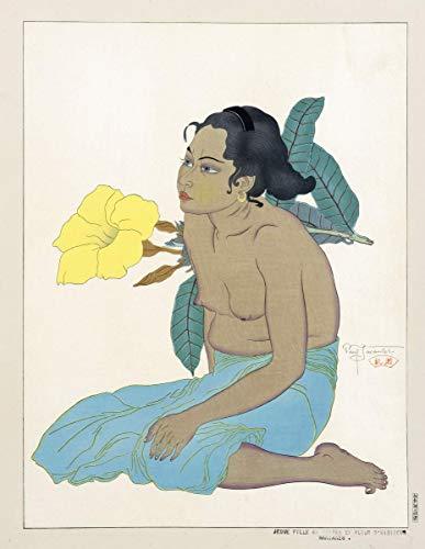 Paul Jacoulet Giclee Auf Leinwand drucken-Berühmte Gemälde Kunst Poster-Reproduktion Wand Dekoration(Saipan Girl And Flower Dhibiscus Marianes junges Mädchen oder Saipan And Hibiscus Flower) #XFB