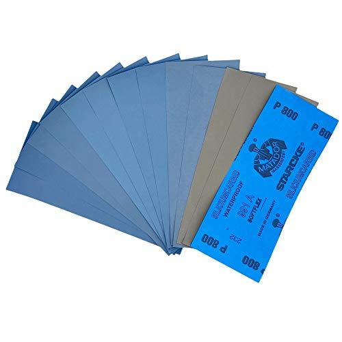 12 Blatt Schleifpapier Sortiment 230 x 91 mm |Made in Germany| P3000 P2000 P1500 P1200 P1000 P800 | Wasserfest Nass & Trocken| Sandpapier SET Schmirgelpapier
