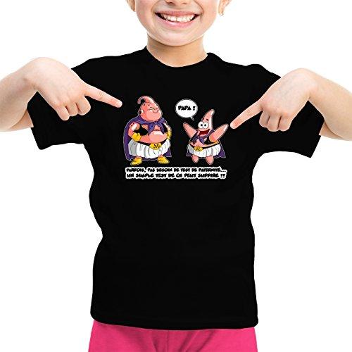 T-Shirt Enfant Fille Noir Dragon Ball Z - Bob l'éponge parodique Boubou aka Majin BOU et Patrick : Tel père, tel Fils !! (Parodie Dragon Ball Z - Bob l'éponge)
