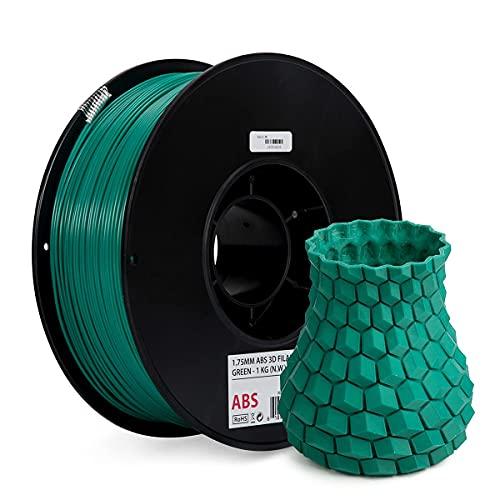 Inland 1.75mm Green ABS 3D Printer Filament – 1kg Spool (2.2 lbs)