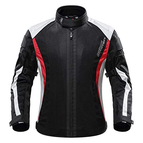 TIUTIU Chaqueta De Montar En Moto, Chaqueta De Verano Transpirable Para Hombre, Equipo De Protección Para Motociclista Desmontable (Red,L)