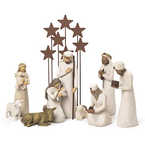 Willow Tree Nativity Starter Figures with Three Wisemen Plus Metal Star Backdrop, 10-Piece Set