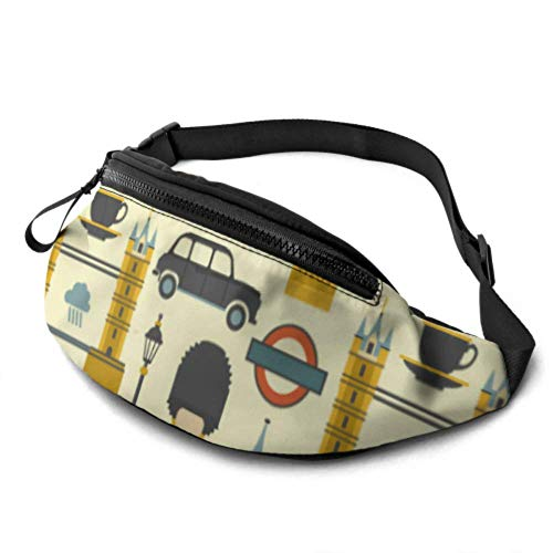 JOCHUAN Exercice Fanny Pack Big Ben Red Bus Cab and British Flag Womens Waist Bag with Headphone Jack and Adjustable Straps Waist Pack for Travel for Travel Sports Randonnée