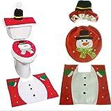 Kingus - Juego de toallas de papel para inodoro con tapa y tapa para inodoro, diseño de muñeco de nieve