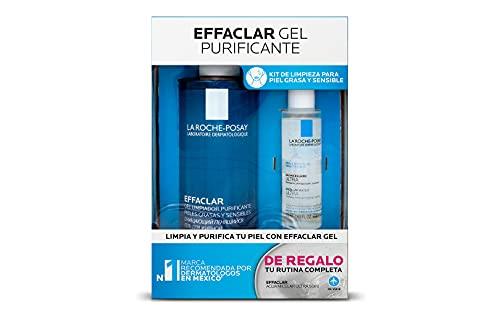 La Roche-Posay Kit effaclar gel limpieza para piel grasa sensible con imperfecciones moderadas a severas + gratis agua micelar