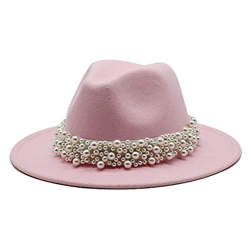 no-branded Ladies Men's Cotton Felt Jazz Fedora Hat Casual Fedora Hat Pearl Ribbon Edge Felt Hat Panama Trilby Formal Hat ZRZZUS (Color : Pink, Size : 59-61cm)
