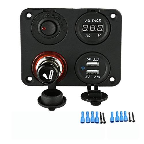 Plum Blossom yu Panel de Interruptor de Rocker LED con voltímetro Digital Doble USB Puerto USB 12V Combinación de interruptores a Prueba de Agua Ajuste para el Barco Marino del Coche (Color : Black)