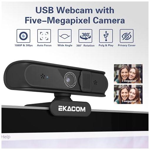 EKACOM Webcam 1080P Full HD con Microfono,Cámara Web con Cubierta de Privacidad ,Usb Web Camera PC Plug y Play para… 2