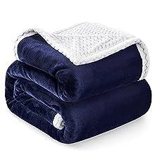 Familybox Manta Reversible de Franela Sherpa Manta para Cama Suave Manta para Hogar, Oficina, Viaje (Azul Marino, 150×200cm)