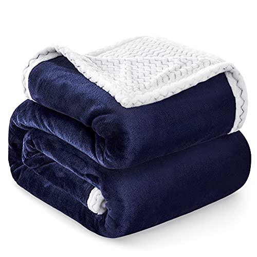 Familybox Manta Reversible de Franela Sherpa Manta para Cama Suave Manta para Hogar, Oficina, Viaje (Azul Marino, 220×240cm)