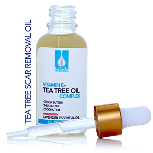 KELODA Scar & Keloid Removal Tea Tree Oil | For Treatment of Scars & Keloids after Surgery, Acne, Burns & Piercing | With Anti-Scar Cocoa, Shea Butter, Vitamin E & Lavender Essential Oil | 1 oz