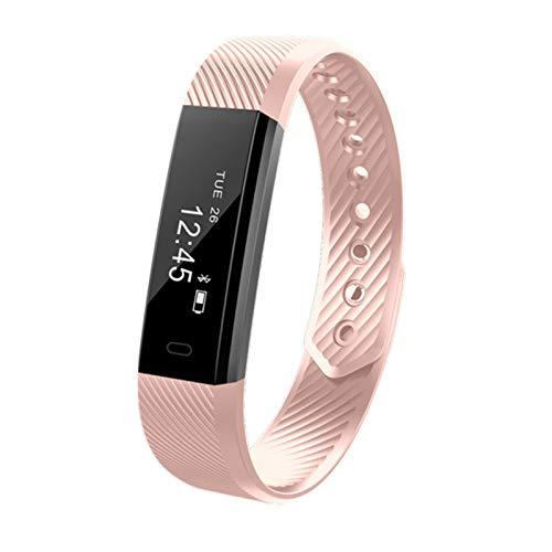 GYY Hombres Mujeres Smart Band Pedómetro Pulsera Paso Contador Fitness Pulsera Reloj De Alarma Smart Muñeca Reloj PK FITBITS XAOMI XIOMI (Color : Pink)