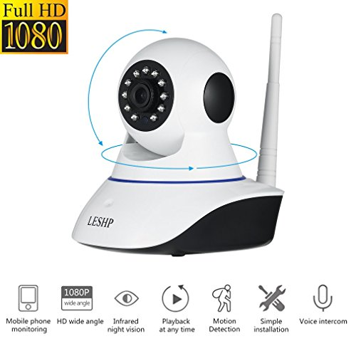 Cámara IP de Vigilancia - LESHP-SN-IPC-HW01, Cámara de Seguridad Inalámbrica Wi-Fi P2P Red inalámbrica Video a Través de PC y Smartphone (Windows & iOS & Android), Cámara Video Vigilancia HD 1080p con Vision Nocturna, Micrófono y Altavoz + 64G capacidad máxima