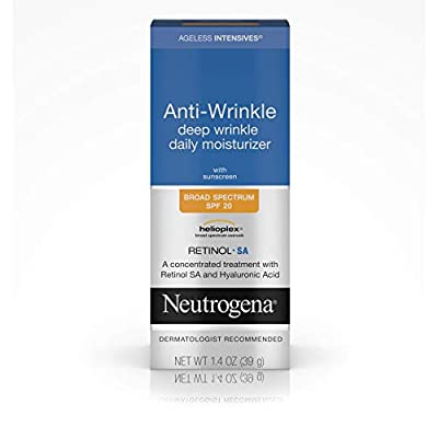 Neutrogena Ageless Intensives Anti Wrinkle Cream - Facial Moisturizer with SPF 20 Sunscreen, Retinol and Hyaluronic Acid to Fight Signs of Aging, Retinol, Hyaluronic Acid, Glycerin 1.4 oz, 1.4 Ounce