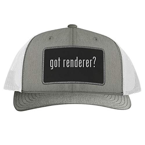 got Renderer? - Leather Black Patch Engraved Trucker Hat, Heather-White, One Size