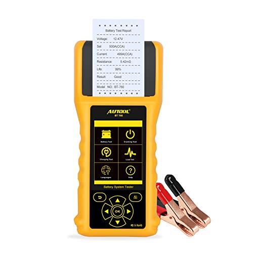 AUTOOL BT-760 12V / 24V Autobatterie Tester 20-2500 DIN Batterietester Analysator Diagnosewerkzeug mit Eingebautem Thermodrucker und Großem Buntem Display