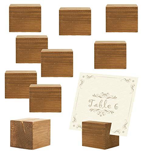 10 pièce rustique en bois naturel Table rectangulaire Place Porte-cartes, Autre, beige, Small