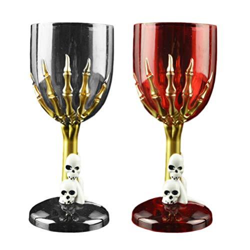 Holibanna 2 piezas de cristal de calavera para Halloween, copa gótica con diseño de garra de cráneo, decoración para bar hogar KTV