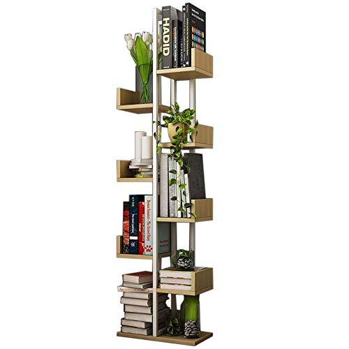 JCNFA Boekenkast, meerlaags, draagbaar ladder, houtlook, met metalen framemeubels, ruimtebesparend, tentoonstellingsstand, diverse opslag 16.53 * 7.87 * 57.08in B