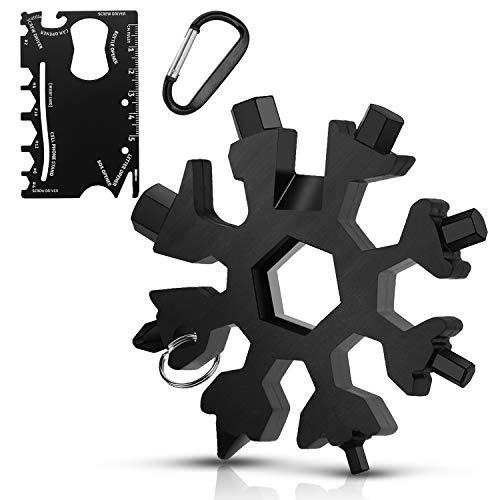DOVAVA 18-in-1 Schneeflocken Multitool & Kartengröße Multifunktionswerkzeug, Geschenk für Männer Edelstahl Multi-Tool 2er Set mit Karabiner für Outdoor Abenteuer Camping (Schwarz)