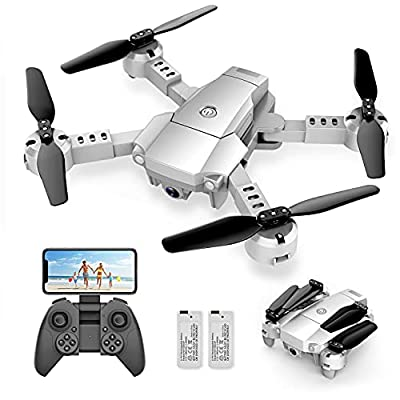 Snaptaⅰn A10 Mini Foldable Drone with 1080P HD Camera FPV WiFi RC Quadcopter w/Voice Control, Gesture Control, Trajectory Flight, Circle Fly, High-Speed Rotation, 3D Flips, G-Sensor, Headless Mode by Snaptaⅰn
