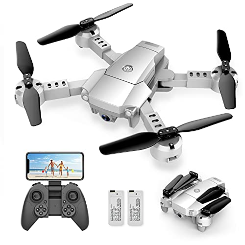 A10 Mini Foldable Drone with 1080P HD Camera FPV WiFi RC Quadcopter w/Voice Control, Gesture Control, Trajectory Flight, Circle Fly, High-Speed Rotation, 3D Flips, G-Sensor, Headless Mode