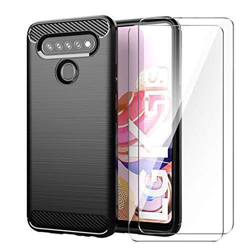 LJSM Schutzfolie für LG K51S Hülle Schwarz Kohlefaser + 2 x Panzerglas Bildschirmschutzfolie - Weich Schutzhülle Flexibel Tasche Hülle Cover für LG K51S (6.55