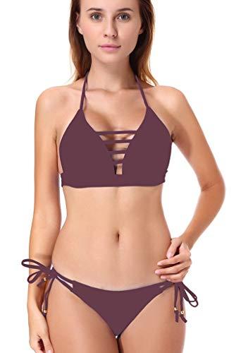 MaoDaAiMaoYi Dames Bikini Set push-up tweedelig eenkleurig cutout badmode halster zomer mode Living strand Hollow houder Bandeau sportief badpak met elastische band