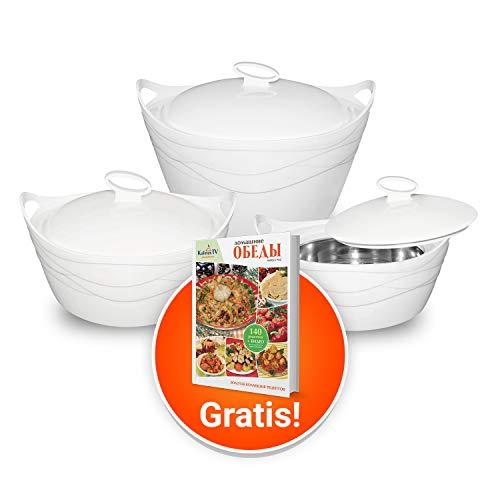 Set van 3 thermokommen met deksel + kookboek salades gratis, maten: 2500, 3500 en 5000 ml
